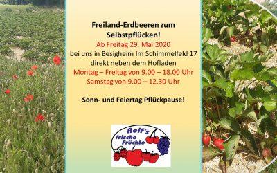 Am Freitag 29. Mai 2020 – heißt es auf die Erdbeeren fertig los!!